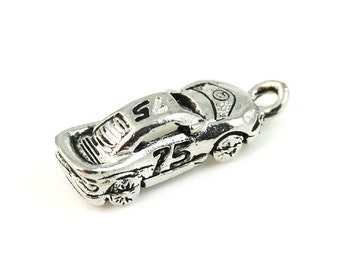 Race Car Racing Silver Pewter Charm -1