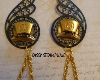 Steampunk Gearwings Earrings Patina Black Brass Top Hat Chain