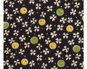 Black Vintage Floral Bud Cotton Fabric Yellow and Green Floral 100% Sewing Cotton Woven Fabric by the Yard