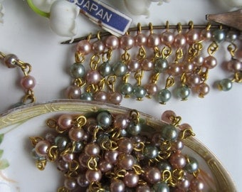 30 Delicate Vintage Pink And Blue Pearl Chain Dangles