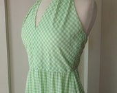 Halter Sundress 1970s Maxidress Lime Green Gingham Checkered Dress with matching Shawl and Head Scarf Hippie Dress