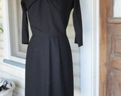 1950s 1960s Classic Black Dress Wiggle Dress with Bow