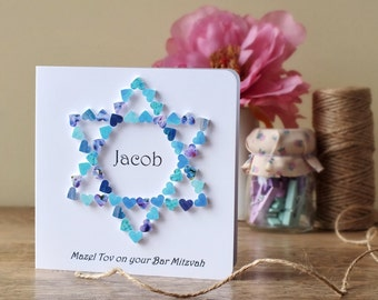 Bar Mitzvah Card - Personalised Mazel Tov on your Bar Mitzvah - Star of David - Jewish - Congratulations Card - Personalized - Handmade BH09