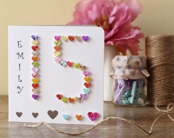Handmade 3D 15th Birthday Card, Personalised 15th Birthday, Thirteen Years Old, Age 15 Card, Age 15 Boy Girl BHA15 Cards by Gaynor