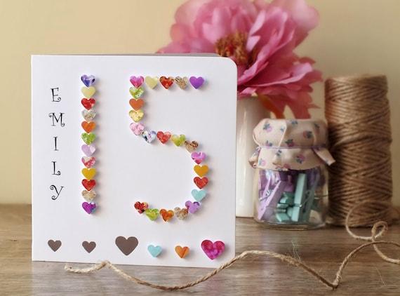 15th Birthday Card Age 15 Card Handmade Personalised – 15th Birthday Card