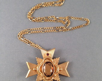 Vintage Gold Avon Brooch or Pendant with Topaz Stone 1 and 5/8 Inches Long on Gold 20.75 Inch Chain Previously 20 Dollars ON SALE (D)
