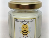 Bee Themed Party Favor, Happy Bee-Day, First Birthday Favor, Custom Label, You choose candle color and fragrance
