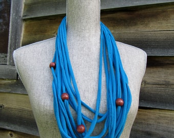 Blue Beaded Fabric Necklace