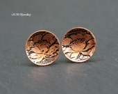 Copper Sterling Silver Mixed Metal Oxidized Floral Pattern Domed Discs Stud Post Earrings