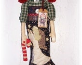 Winter Christmas Annie Christmas Stocking Candy Cane Holiday Home  by FosterChildWhimsy