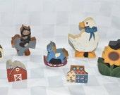 Wood Miniature Figurines, Goose, Sunflower, House, Barn, Church, Rocking Horse, Toy, Country Home Decor, Craft Supplies, Vintage, Folk Art