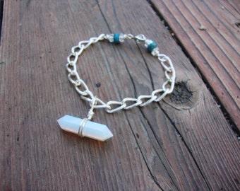 Silver tone firey opalite bracelet
