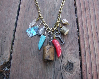 Repurposed antique bell lucky talisman charm necklace