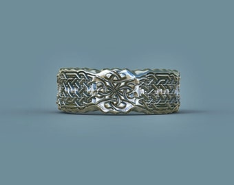 wedding ring celtic ring celtic band rippeled edge ZB13RE