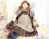 "OOAK Art Doll Cloth Doll SOPHIE 17"" Navy with Vintage Crochet,Soft Sculpture Handmade Handcrafted CharlotteStyle SIGNED"