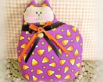 Halloween Cat Pillow, Cat Doll, 7 in. Candy Corn, Autumn, Fall, Primitive Soft Sculpture Handmade CharlotteStyle Decorative Folk Art