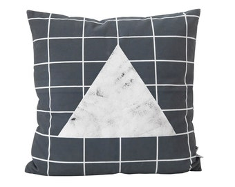"Stones Pillow Cover Decorative Pillows Grid Pillow Grey Pillow Cushion covers 18"" x 18"""