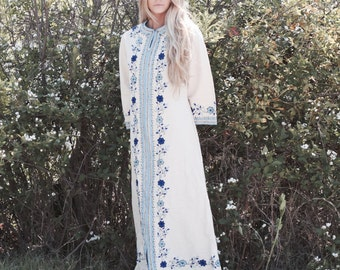 "Embroidered Kaftan, Bohemian Wedding Gown, Vintage Inspired Wedding Dress - ""Jil"""