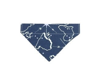 Small Geographical Compass Print Slip On Dog Bandana Over the Collar