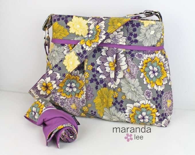 Stella Diaper Bag Large - Bouquet Purple with Lavender  - Nappy Bag - Elastic Pockets Attach to Stroller