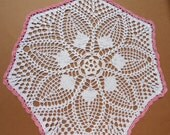 """White and pink crochet doily, 15 """""""