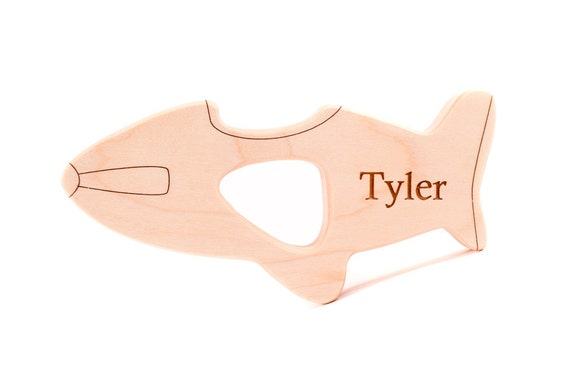 personalized airplane wood TEETHER TOY - natural and organic wooden teething for newborn baby - a cute transportation themed gift