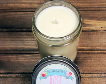 Rose Soy Wax Candle in 8 oz. Jelly Jar - Floral Rose Candle for Mother's Day, Birthday, Housewarming, Garden, Hostess Gift