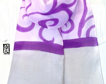 Tribal Scarf Women, ETSY, Silk Summer Scarf Pattern, Purple and Gray Japanese Tribal, Small Silk Scarf Handpainted, Takuyo, 8x54 inch