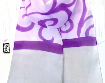 Silk Scarf Handpainted, Gift for her, Gift Wrapped, Birthday Gift, Purple and Gray, Japanese Floral Scarf, Silk Scarves Takuyo, 8x54 inches.