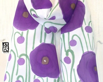 Silk Scarf Hand Painted, Summer Scarf, Purple Poppies Scarf, Purple Silk Scarf. Made in the USA, Silk Scarves Takuyo, 7x52 inches.