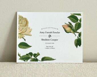 Vintage Floral Wedding Save The Date - DIY Printable PDF Template - Postcard