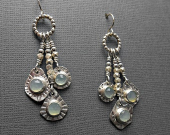 Dangly Sterling Silver Earrings with Rose Cut Faceted Mint Green Chalcedony Stone Cabochons