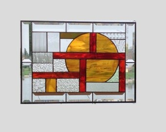 Beveled stained glass window panel amber red geometric stained glass panel window hanging clear abstract 0026