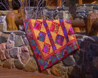 Matisse Villa II-- Jewel Toned Kaffe Fassett inspired Quilt