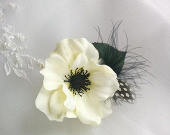 Wedding Premium Silk Anemone Boutonniere - Silk wedding Boutonniere