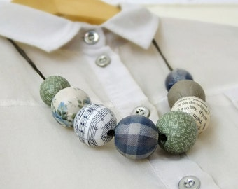 Blue and green chunky fabric covered bead necklace