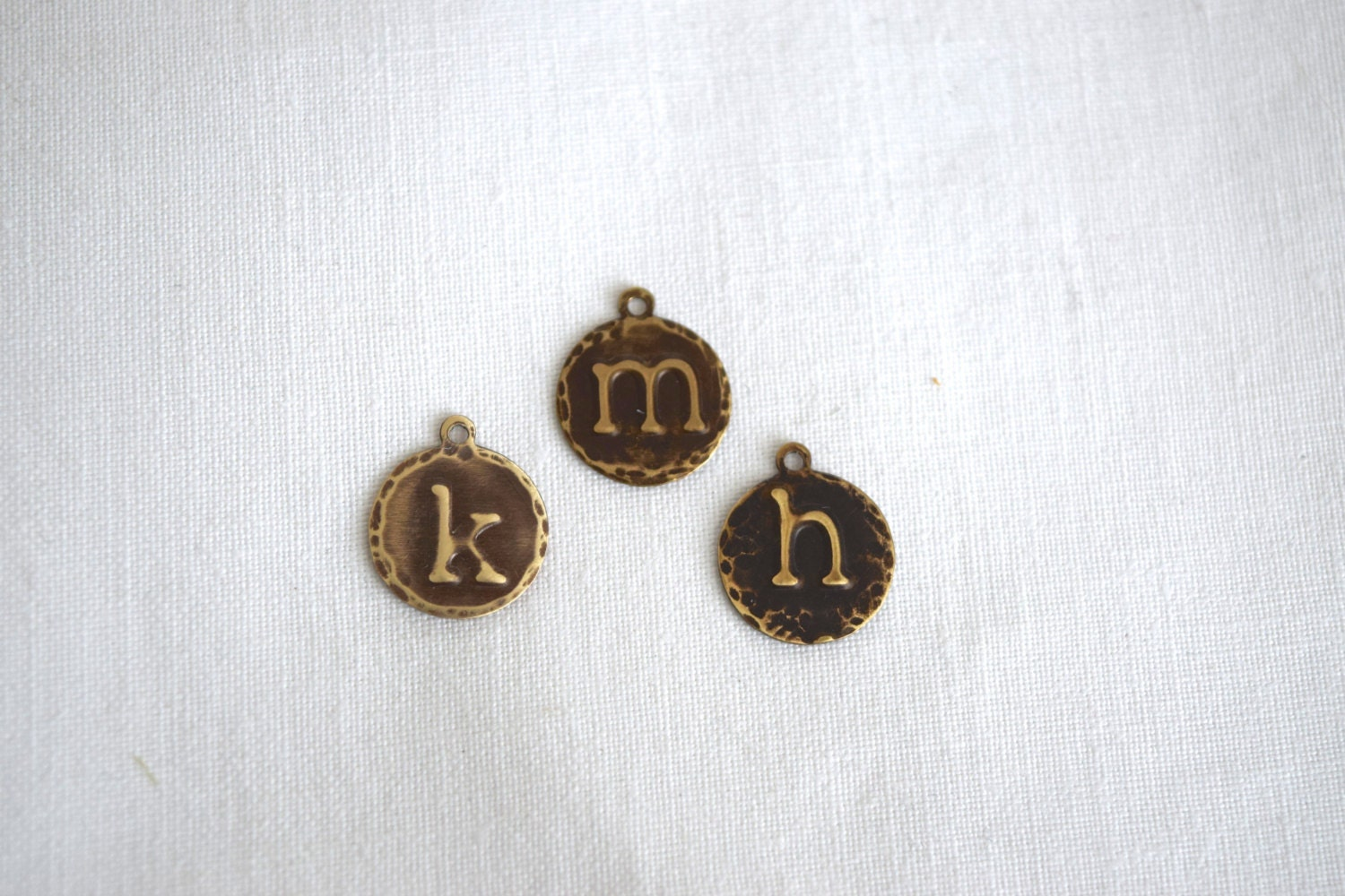 Embossed initial letter lowercase typewriter 13mm circle charm for Circle letter beads