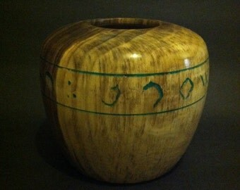 One of a kind Black Walnut inlaid vessel - solid walnt centerpiece - artistic bowl - cryptic writing engraved in wood and inlaid