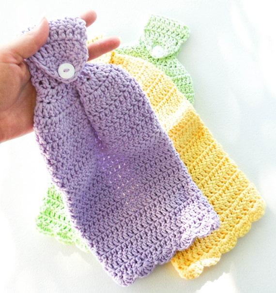 Crochet Kitchen Towel : Crochet Hanging Dish Towel - Set of 1 - Cotton Kitchen Towel
