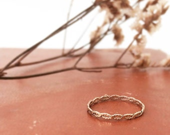 14K Solid Gold Infinity, twist band. Wedding band, stacking ring.
