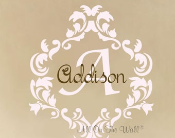 Baby Girl Name Wall Decal Nursery Monogram Vinyl Lettering Damask Decals Shabby Chic Teen Decor