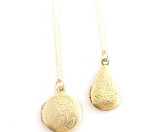 Fleur -- vintage flower locket necklace