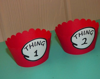 12 Dr Seuss Cupcake Wrappers - Thing 1 Thing 2 Party Theme