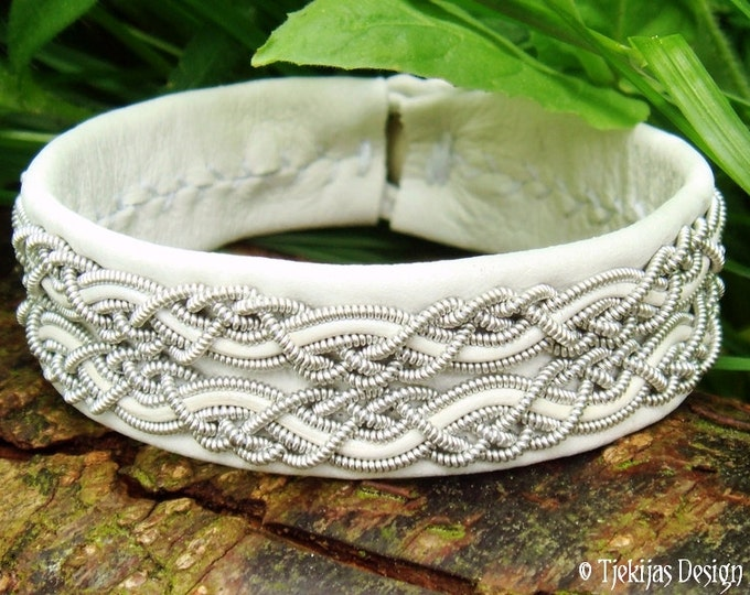 MUNINN White Leather Viking Bracelet Custom Handmade Swedish Sami Bracelet with braided spun Pewter and Antler button - Scandinavian Design
