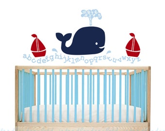 Whale Alphabet Vinyl Wall Decal, Baby Playroom Decals, Nursery Sailboat Decal, Number Wall Decals, Whale Vinyl Decals, Boys Wall Decals