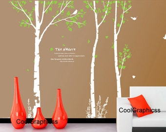 wall decals trees - 3 Birch Trees wall decal birds birdcage branch wall decals child nursery wall sticker wall decor room decor home decor