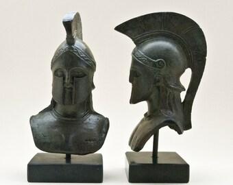 Bronze Leonidas Head, Greek Spartan Warrior King Bust with Helmet, Bronze Metal Sculpture, Collectible Art, Museum Quality Art, Office Art
