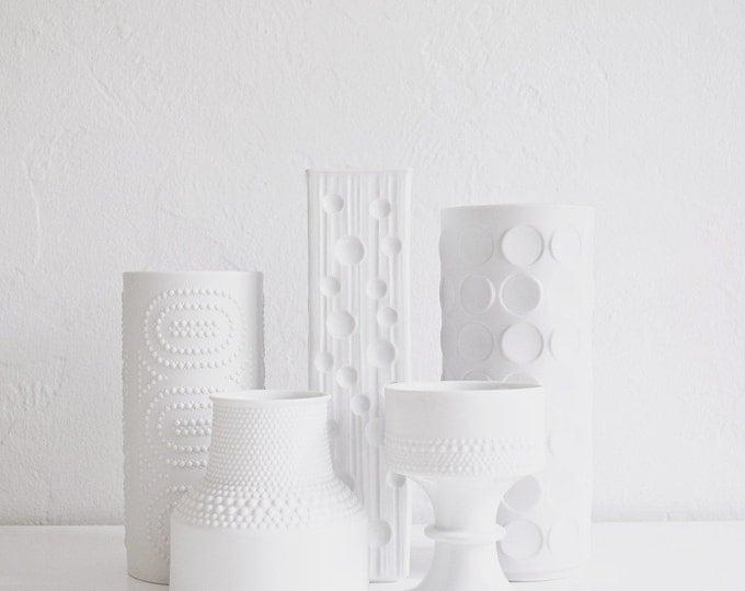 Vintage Matte White Porcelain Dot Vase // Winterling West Germany