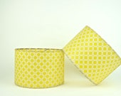 Mid Century Modern Fiber Glass Lamp Shade Set in Lovely Yellow Print