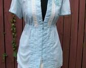Turquoise Blue & Ivory Blouse - Shabby Chic - Junk Gypsy Clothing - XL